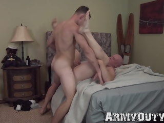 bald Bald hunky soldier sucks and rides his comrades huge cock hunky