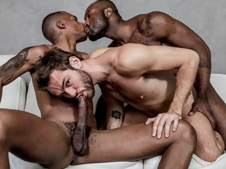 three Three dudes, three dicks, one of them is a big black rod. dudes
