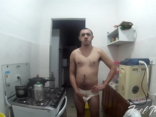 brazilian Brazilian men showing bulge on kitchen men