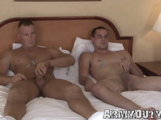 army Army buddies masturbate and bareback fuck together buddies