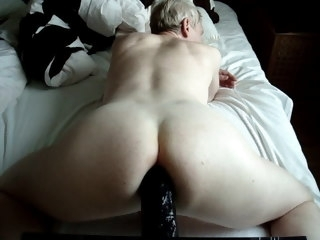 black Big black dildo all the way up my ass! dildo