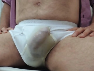 mature Mature daddy peeing, wanking and cumming in underwear daddy