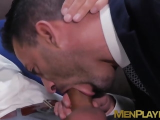 businessmen Businessmen enjoy champagne before sloppy blowjobs and anal champagne